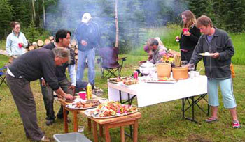 Cooking outside Tower Rock Lodge