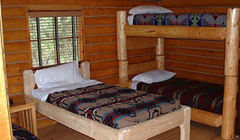 Beds in Cabins of Tower Rock Lodge